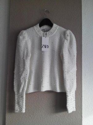 Zara Coarse Knitted Sweater natural white polyacrylic