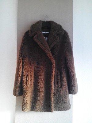 wunderschöner Teddy-Mantel aus künstlichem Fell in braun, Grösse M, neu