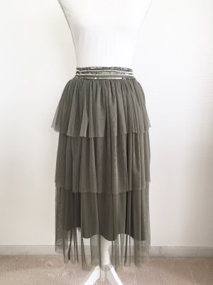 Lace & Beads Tulle Skirt green grey