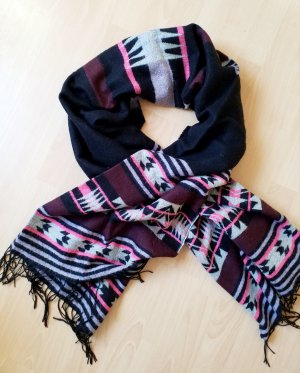 H&M Fringed Scarf black-pink