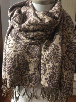 0039 Italy Sjaal met franjes goud-bruin