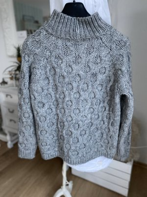 Elsamanda Pull à gosses mailles gris laine alpaga