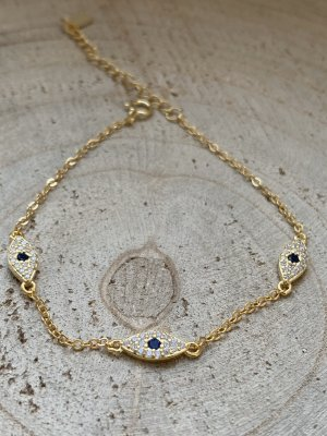 Wunderschönes Armband mit blauem Auge silber 925 vergoldet