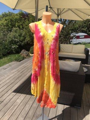 Wunderschönes Batik-Kleid * Hippie-Kleid * bestickt * mit Pailletten * passt Größe 38-44