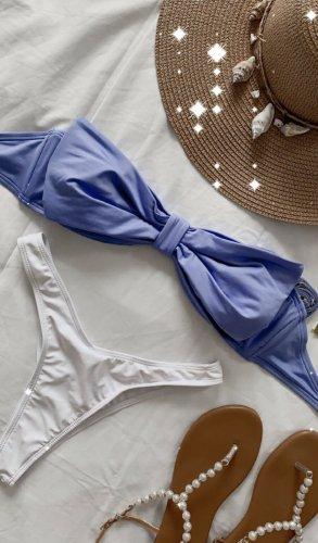 Wunderschönes blaues Bikinioberteil Bandeau Schleife