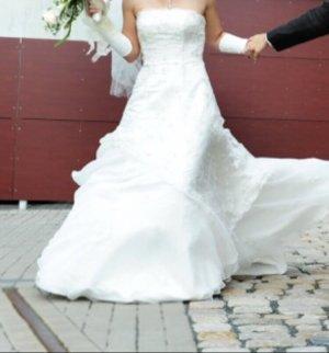 PIA CHARLOTTE Vestido de novia blanco puro tejido mezclado