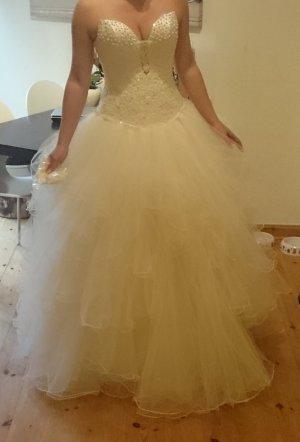 wunderschönes Brautkleid/Hochzeitskleid ivory mit Tüll und Corsage S/M
