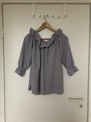 Top épaules dénudées argenté-gris clair