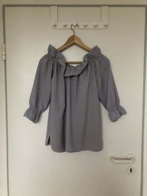 Koszula typu carmen srebrny-jasnoszary