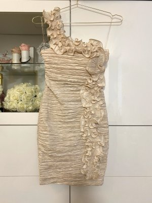 Wunderschönes Cocktail Abendkleid Bodycon Beige Nude One-Shoulder Gr. S