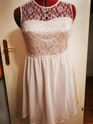 Szyfonowa sukienka kremowy-jasnobeżowy