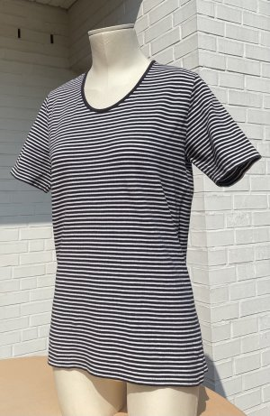 Franco Callegari T-shirt rayé bleu foncé-blanc coton