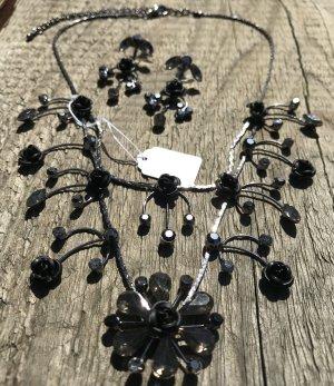 wunderschönes Ketten Set Collier Kette und Ohrringe Rose Rosen Blume schwarz blumig floral schwarz Neu