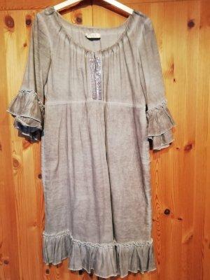 Flounce Dress silver-colored cotton