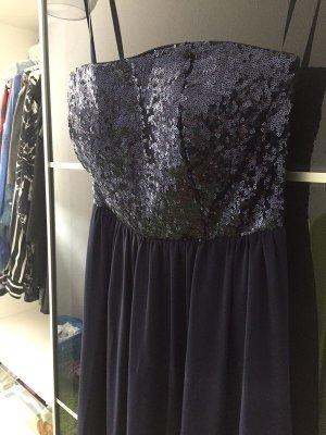 Wunderschönes Kleid mit Pailletten in dunkelblau, Gr. 32/34