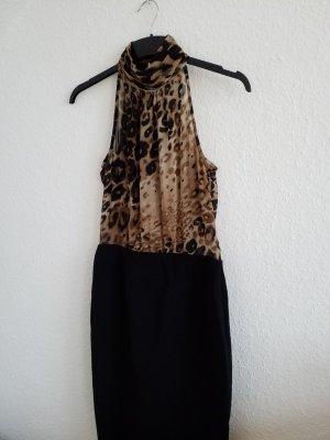 wunderschönes Kleid mit Seidenbluse mit Leopardenmuster und Bleistiftrock