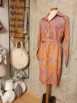 Zwillingsherz Longsleeve Dress neon orange-grey violet