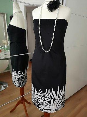 Max Mara Sukienka z dekoltem typu bandeau czarny-biały Bawełna