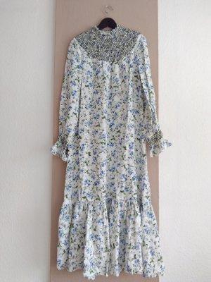wunderschönes langes Kleid mit Blumenprint in hellblau, Grösse S, neu