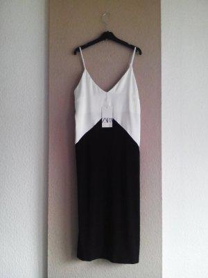 wunderschönes Midi-Trägerkleid in weiss-schwarz, Größe L, neu