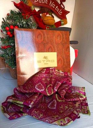 Etro Foulard en soie rouge framboise-rouge fluo soie