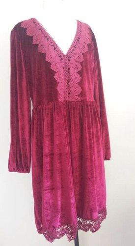 Aus Indien Sukienka boho ciemnoczerwony Tkanina z mieszanych włókien