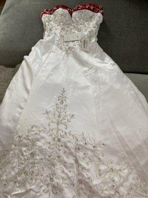 Wunderschönes Satin-Brautkleid mit Kapellenschleppe