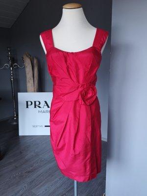 Wunderschönes Seiden-Kleid von Laurel Gr 36 Seidenkleid 100 % reine Seide rot Cocktailkleid Etuikleid tailliert Abendkleid Abiballkleid Laurél Midi Midikleid Kleid