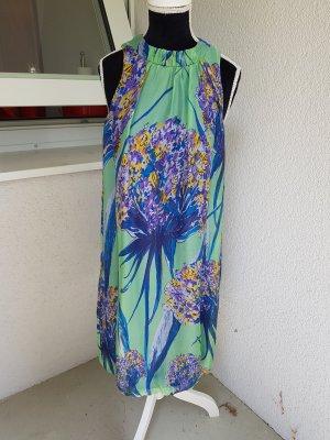 Zara Woman Robe dos-nu multicolore soie