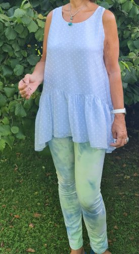 Made in Italy Silk Top white-azure