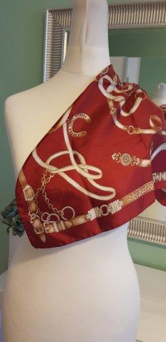 Codello Foulard en soie rouge carmin-blanc cassé soie