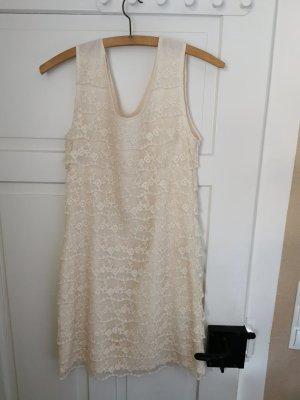 3suisses Koronkowa sukienka w kolorze białej wełny-kremowy
