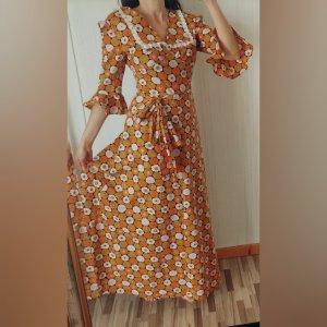 wunderschönes Vintage Kleid Blumen Rüschen lang maxikleid