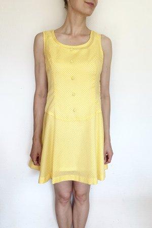 Wunderschönes Vintagekleid mit Punkten und Unterkleid in gelb