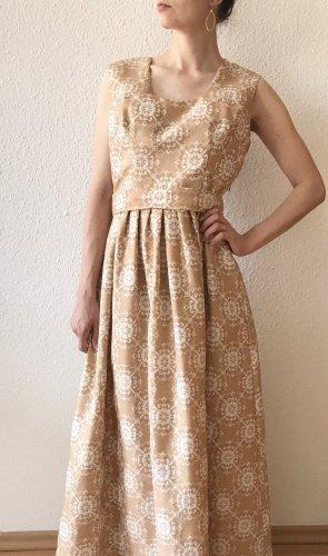 Wunderschönes Vintagekleid/ Retrokleid/ Abendkleid mit Guertel in Nude-Creme