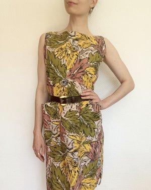Wunderschönes Vintagekleid/ Retrokleid mit Blaetterprint aus Baumwolle- Made in Italy