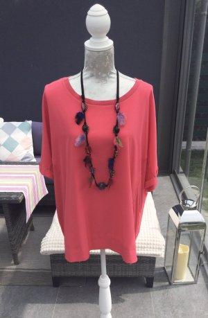 100% Fashion Camicia oversize rosso neon