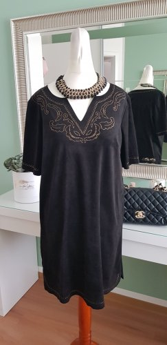Casual Lady Robe en cuir noir-doré