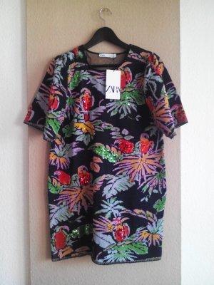 wunderschönes Zara Kleid mit Tropical Print, Pailletten Stickerei, Grösse 38, neu