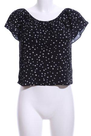 WYLDR Kurzarm-Bluse schwarz-weiß Casual-Look