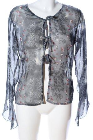 X-Mail Transparenz-Bluse hellgrau-rot Allover-Druck Street-Fashion-Look