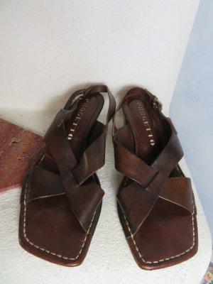 X-Strap Riemchen Sandalette - Gr. 39 -  Progetto Italy - 100% Echtleder - Boho Dunkelbraun