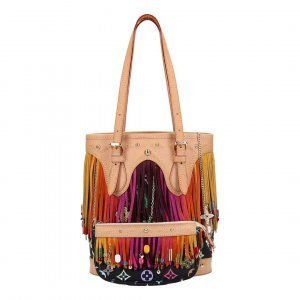 X30301 LOUIS VUITTON BUCKET PM HANDTASCHE AUS MONOGRAM MULTICOLORE FRINGE CANVAS IN NOIR