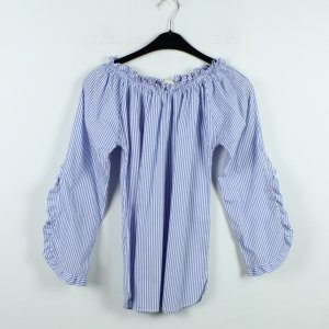 Blusa alla Carmen blu fiordaliso-bianco Tessuto misto
