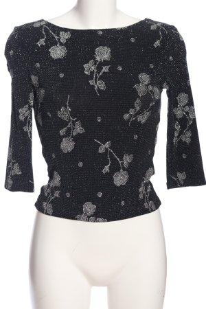 Xanaka Schlupf-Bluse schwarz-silberfarben Blumenmuster Elegant
