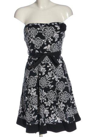 Xanaka schulterfreies Kleid schwarz-weiß Allover-Druck Casual-Look