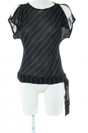 Xanaka Transparenz-Bluse schwarz-weiß Streifenmuster Casual-Look