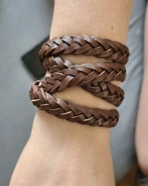 XENOX Leather Bracelet brown-silver-colored leather