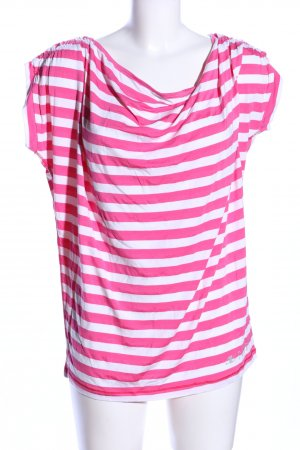 xfore Koszulka z dekoltem woda biały-różowy Wzór w paski W stylu casual