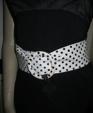 XL breiter Gürtel Hüftgürtel Taillengürtel Rockabilly runde Schnalle zum Durchziehen weiß schwarze Pnkte Polka Dots ONE SIZE 34 36 38 40 42 44 XS-XL Neu mit Etikett